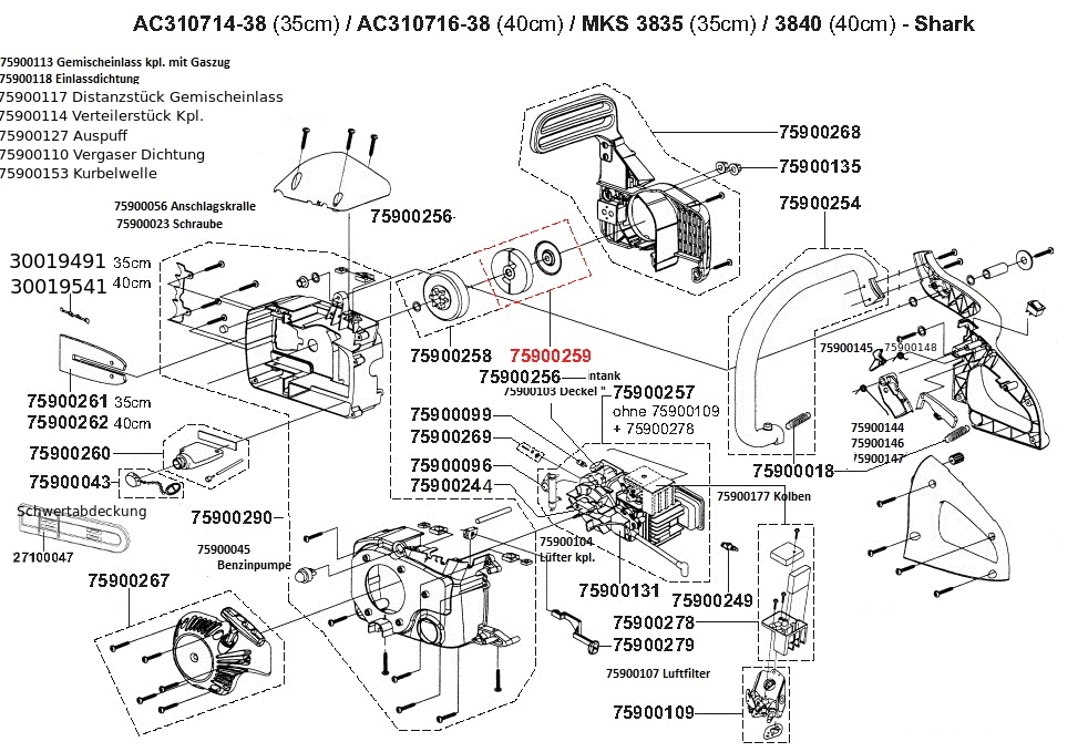 6x Sägekette Ersatzkette 40 cm für ATIKA Motorsäge BKS 38
